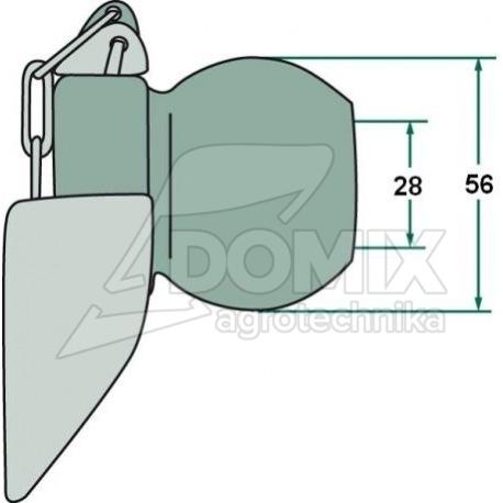 Kula z kołnierzem 2/2 28, 56 mm