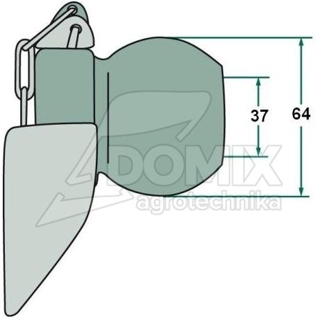 Kula z kołnierzem fi 12mm 3/3 37, 64 mm