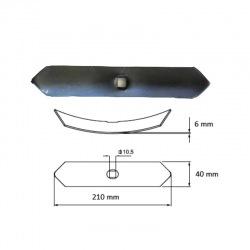 Redliczka wygięta 1-otw 40x6x210 mm 550034, VRF6L