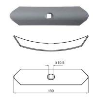 Redliczka wygięta 1-otw 40x5x190 mm 550001, VRF5